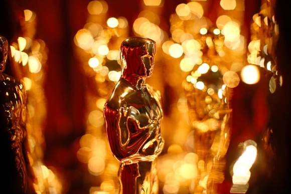 Close-up of Oscar trophies
