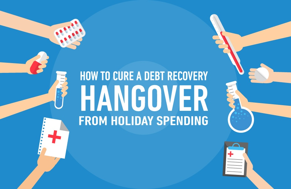 How to Cure a Debt Recovery Hangover from Holiday Spending text and hands extending offering several medical remedy options