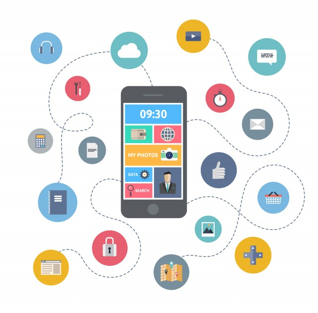 Various icons emmanating from a smart phone