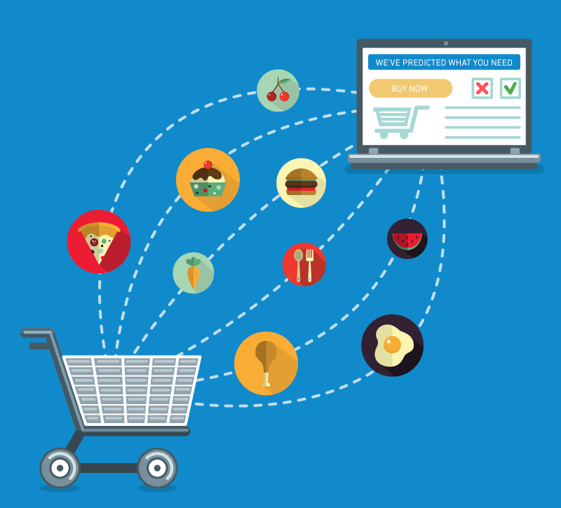 Various food icons moving between an open laptop and a shopping cart