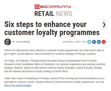 Bizcommunity Coverage: customer loyalty programmes