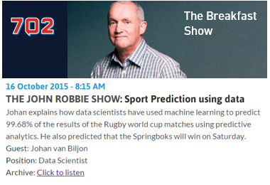 John Robbie sports predictions using data