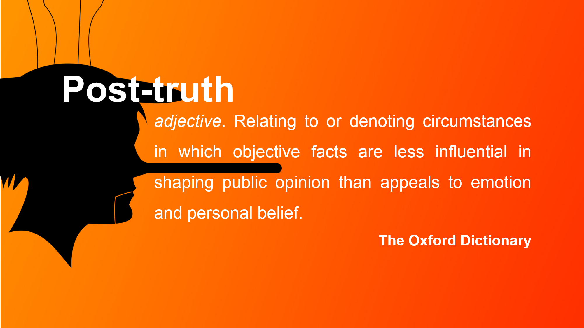 Silouhetter of Pinocchio and the definition of Post-truth
