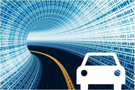 Car icon driving through a tunnel of telematics data