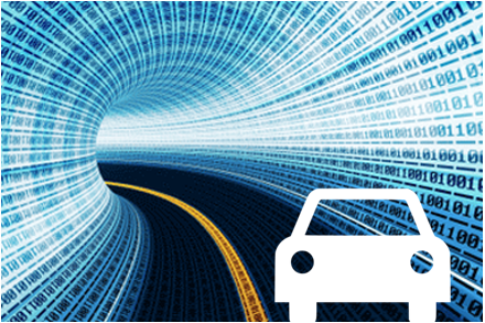 Car icon driving through a tunnel of telematics data