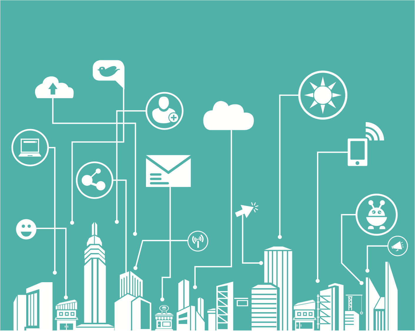 Social media and Internet related icons connected to a city skyline illustration